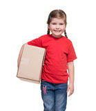 Little girl with big parcel box Royalty Free Stock Photography