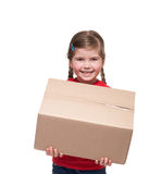 Little girl with big parcel box. Isolated on white Stock Photography
