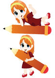 Little girl with a big pencil Royalty Free Stock Image