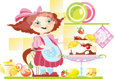 little girl and big pie Royalty Free Stock Images