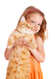 Little girl with a big red cat Stock Photo