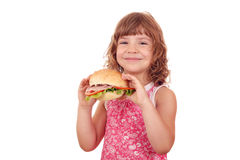 Little girl with big sandwich Royalty Free Stock Image