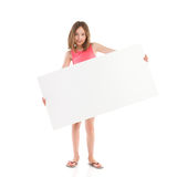 Little girl with big white banner Royalty Free Stock Photo