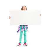 Little girl with big white banner Stock Photo
