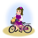 Little Girl with Bike Stock Images