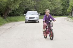 Little girl on bike Royalty Free Stock Photo