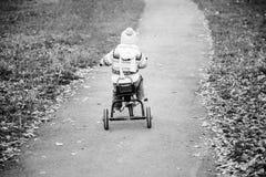 Little girl biking Stock Photo