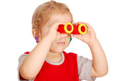 Little girl with binoculars Royalty Free Stock Photo