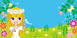 Little girl with bird in spring nature -EPS10 Stock Photo