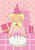 Little girl with birthday cake. Illustration of sweet little girl with birthday cake Stock Photo