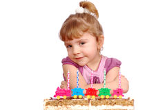 Little girl with birthday cake Royalty Free Stock Photos