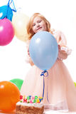 Little girl with birthday cake Stock Images