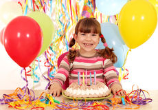 Little girl with birthday cake Stock Photography