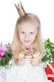 Little girl with birthday cake on white Royalty Free Stock Image