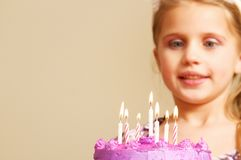 Little girl birthday celebration with cake Royalty Free Stock Photo