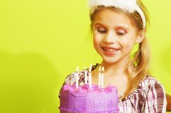 Little girl birthday celebration with cake Royalty Free Stock Images