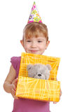 Little girl with birthday gift Royalty Free Stock Photography