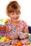 Little girl on birthday party Stock Photo