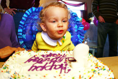 Little Girl Birthday Party. A little girl blowing out her candles on her birthday cake at her birthday party stock image