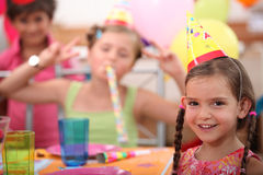 Little girl birthday party stock photos