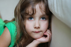 Portrait of a depressed little girl Stock Image