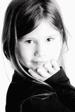 Little girl  in blach&white isolated Stock Image