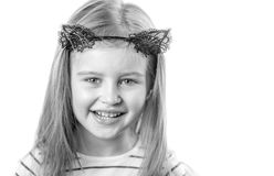 Little girl with black cat ears Stock Photo