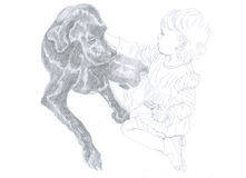 Little girl and black dog. Little girl stroking big black dog. Pencil drawing Royalty Free Stock Images