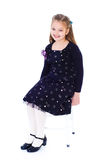 Little girl in a black dress Royalty Free Stock Images