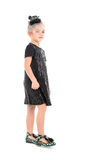 Little Girl in a Black Dress Posing Royalty Free Stock Photography