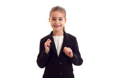 Little girl in black jacket Stock Photos