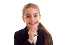 Little girl in black jacket Stock Image