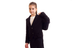 Little girl in black jacket holding diplomat Stock Photography