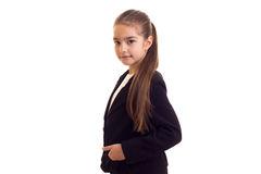 Little girl in black jacket Royalty Free Stock Images