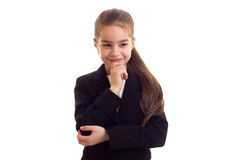 Little girl in black jacket Stock Photo