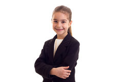 Little girl in black jacket Royalty Free Stock Photo