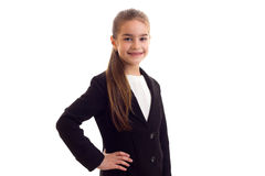 Little girl in black jacket Royalty Free Stock Photos