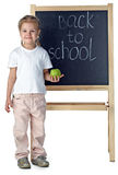 Little girl and blackboard royalty free stock photography