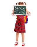 Little girl with blackboard. stock image
