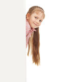 Little girl with blank Royalty Free Stock Images