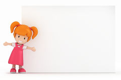 Little Girl and Blank Board Royalty Free Stock Photo