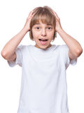 Little girl in blank t-shirt Royalty Free Stock Images