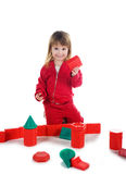 Little girl with the blocks Royalty Free Stock Photo