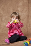 Little girl with blocks Stock Photography