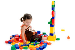 Little Girl with blocks Royalty Free Stock Photography