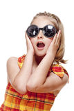 Little Girl with Blond Hair and Funny Glasses Royalty Free Stock Images