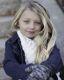 Little Girl, Blond, Winter, Cold Royalty Free Stock Photos