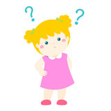 Little girl blonde hair   wondering cartoon character Stock Images
