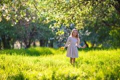 Little girl in blooming apple garden outdoors Stock Images