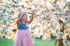 Little girl in blooming apple tree garden enjoy the warm day Stock Photos